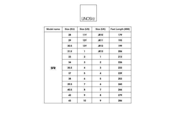 SFR Size Chart